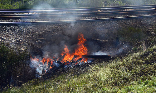 Grundy County Rural, Jamesport fire departments respond to railroad tie fire