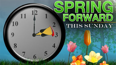 Daylight Saving Time begins Sunday, March 13