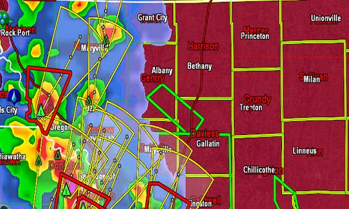 Radar image north Missouri