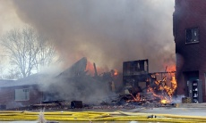 Princeton fire destroys at least two buildings, moves polling site