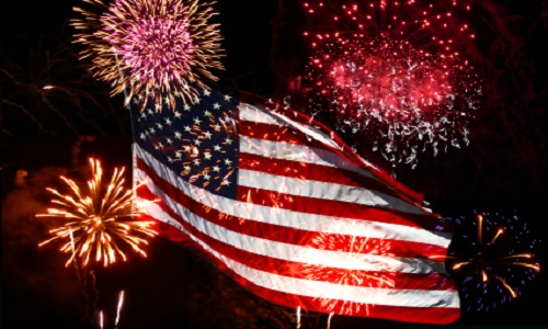 the american flag with fireworks display