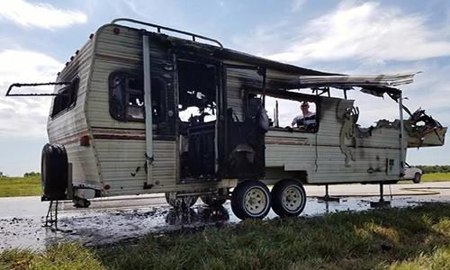 RV Fire near Utica, Missouri