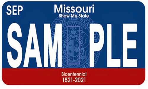 Missouri Bicentennial License Plate Sample
