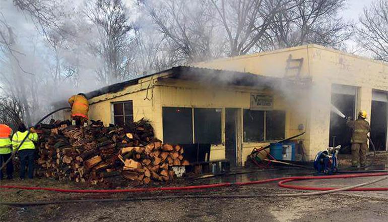 Wilson's Garage Fire in Spickard, Mssouri (Photo Credit to Jimmy Ishmael)