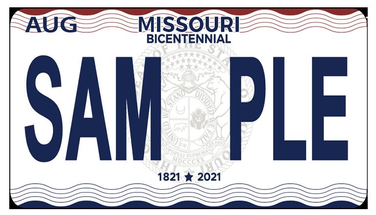 Missouri Bicentenniel License Plate