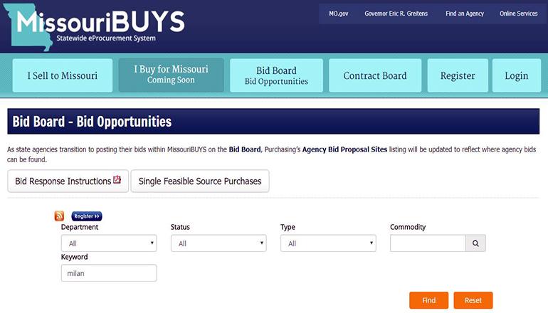 Missouri Bid Board (License Office)