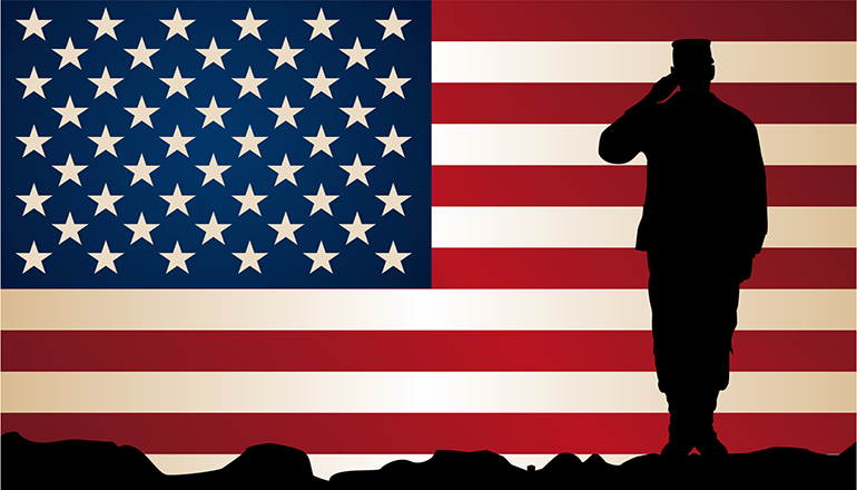 Veteran Saluting with Flag Background