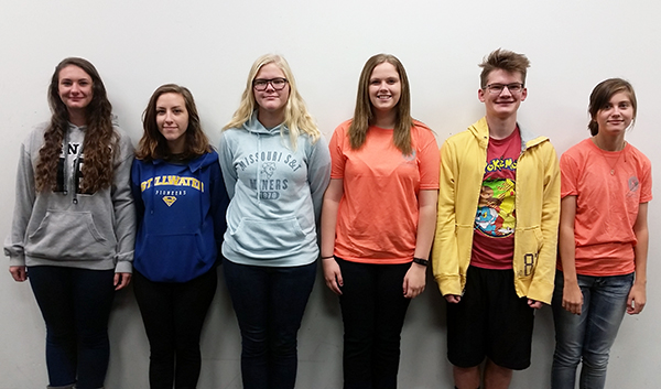 Left to right: Alyssa Kosse, Emily Bonta, Emma Gilham, Mackenzie Klinginsmith, Tanner Franklin, Amanda Parrack.