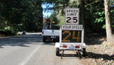 Radar sign displaying speed