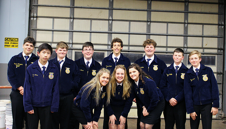 Back Left: Nick Velazquez Advance Public Speaking Gold and Alternate to State, Eric Wong, Kael Brock, Elijah Merrin (also on Conduct of Meetings team), 9th and Alternate to State, Conduct of meetings Camdyn Leeper, Jake McNabb, Kidridge Griffin (also on Knowledge team), Aiden McAtee, Front Row: Emilee Lovell, Jaycie Griffin, and Olivia Roberts placed 2nd and Gold and will be moving on to the State FFA contest.