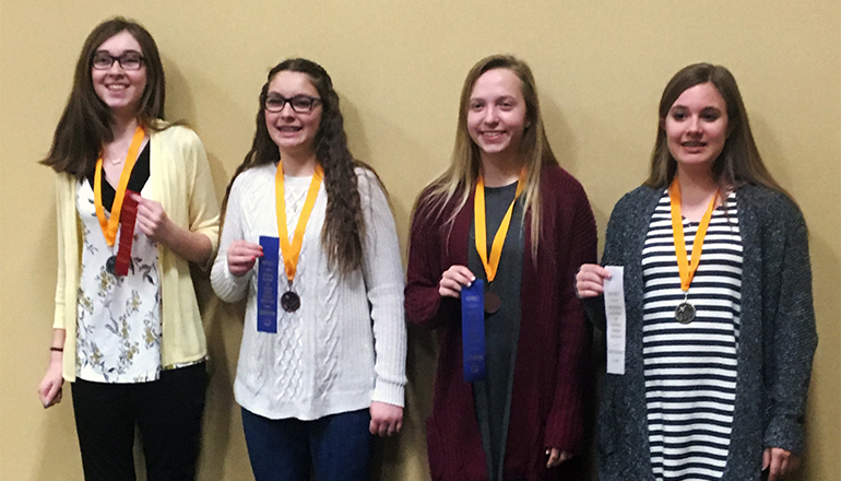 Pictured from L to R: Lilly Berti, Ali Westcott, Jenna Reeter, and Natalie Ricker. Pleasant View's Science Instructor is Naomi Meinecke.