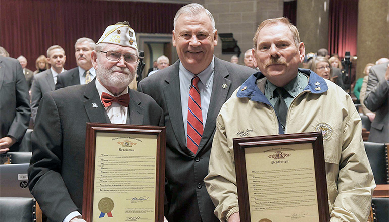 Pictured left to right are: Thomas Chester Yunick, United States Air Force; Rep. Nate Walker and David Leon Lewis, United States Navy, two Vietnam Veteran heroes from the 3rd District in House Chambers who were recently honored at the Missouri State Capitol.