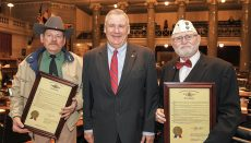 Pictured left to right are: David Leon Lewis, United States Navy; Rep. Nate Walker and Thomas Chester Yunick, United States Air Force, two Vietnam Veteran heroes from the 3rd District in House Chambers who were recently honored at the Missouri State Capitol.