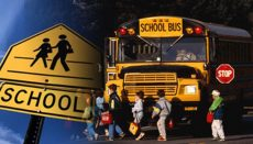 School Bus Picking up kids (children)