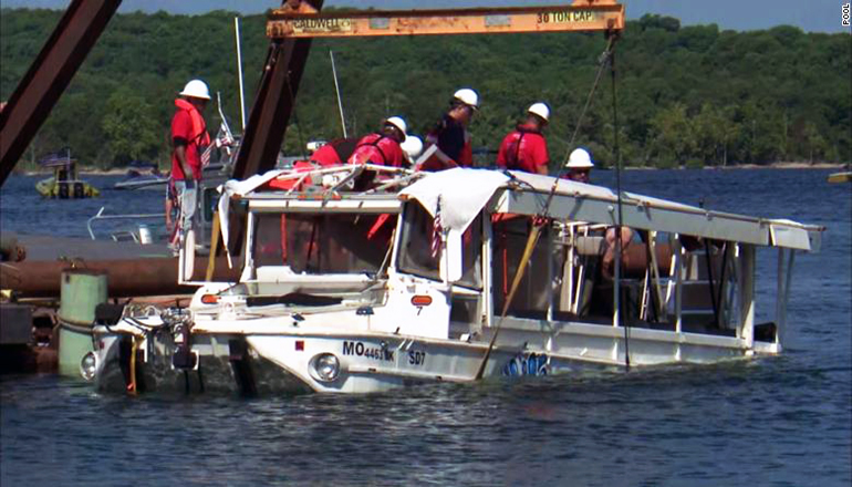 Duck Boat being raised from bottom of lake