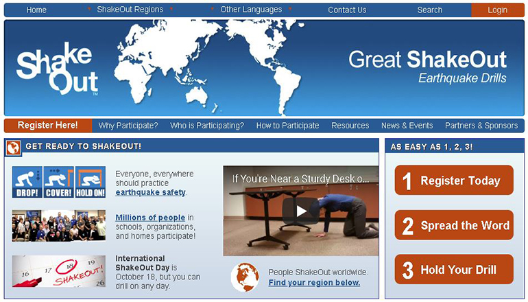 Great American Shakeout Earthquake Drill Website