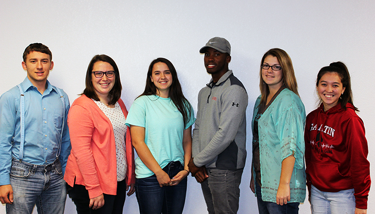 North Central Missouri College's Student Senate Officers for the 2018-2019 year are from left to right, Grant Bennett-Secretary (Trenton), Jamee Scearce-President (Stewartsville), Glenn Smit-Public Relations (Gallatin), Pharon Pilgrim-Vice President (Willemstad, Curacao), Katie Blanchard-Treasurer (Lucerne), and Natasha Jackson-Representative (Gallatin). Not pictured is Josephine Deen-Representative (Conception Junction).