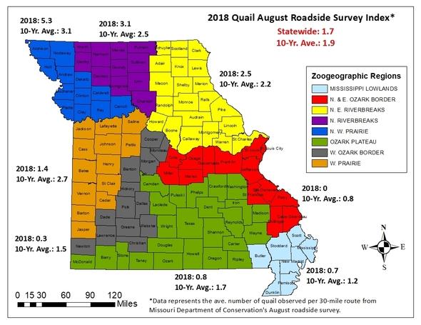 Missouri Quail Forecast Map 2018