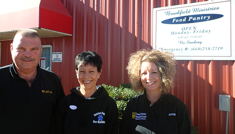 from left to right, David Davis, superintendent of FSRC; Debbie Scott, director of the Food Pantry; and Racheal Foster-Neal, office support assistant