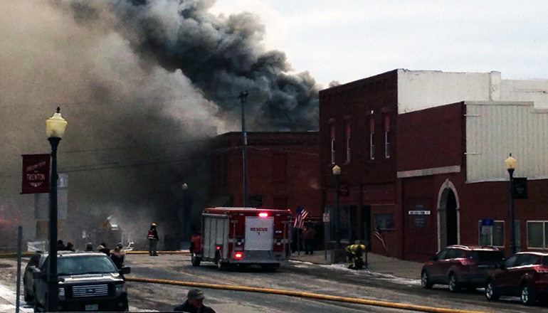 Fire downtown Trenton