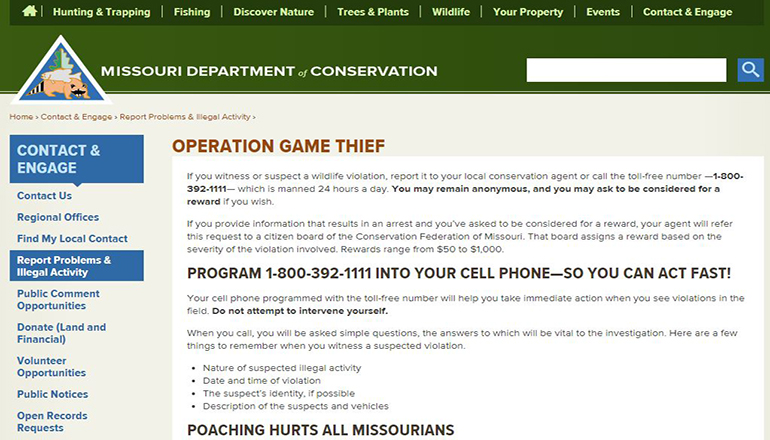 Missouri Department of Conservation Operation Game Thief