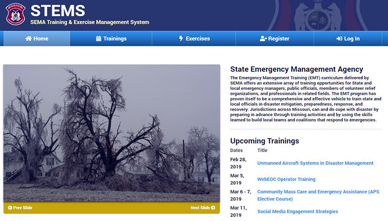 SEMA State Emergency Management Agency Website