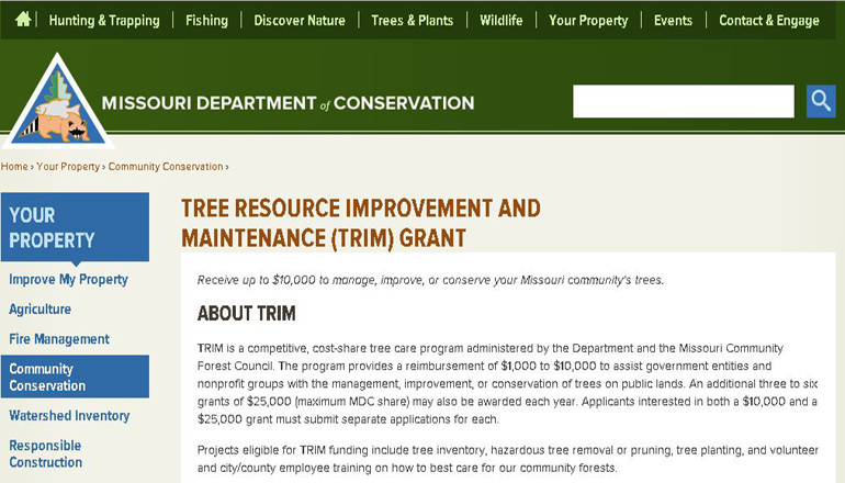 Missouri Department of Conservation Trim Grant website