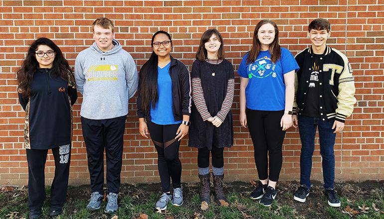 Mari Atup, a freshman on flute; Caleb Johnson, a freshman, on tuba; Trager Leeper, also a freshman, on trumpet; Mackenzie Klinginsmith, a junior, with a clarinet solo; Amanda Parrack, a sophomore, on the tenor sax; and Nicole Rodriguez, a senior, with a tuba solo