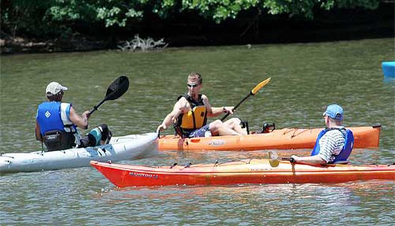 Kayaking on water