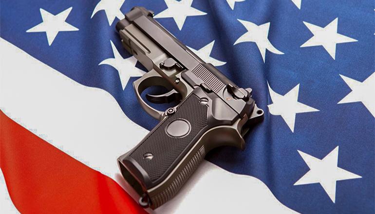 Gun On American Flag (shooting) (Mass Shooting) (Violence)