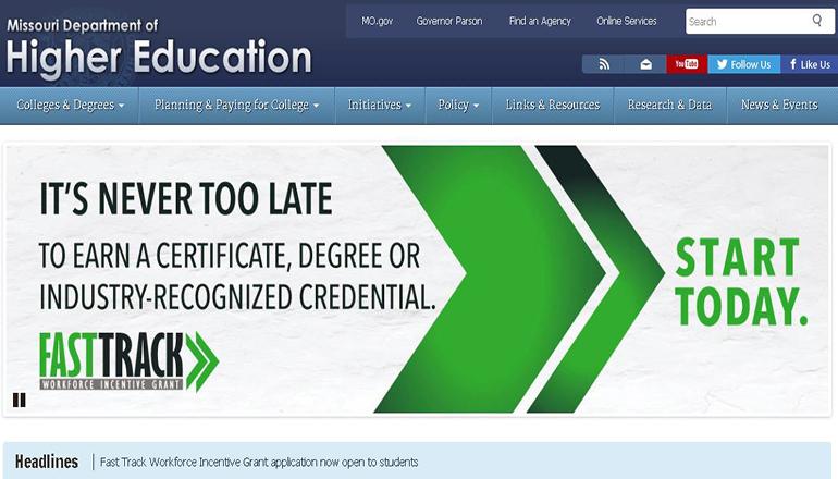 Missouri Department of Higher Education website