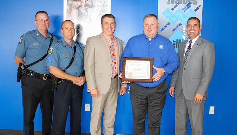 Ryan Johnson presented Honorary Missouri State Highway Patrol Certficate