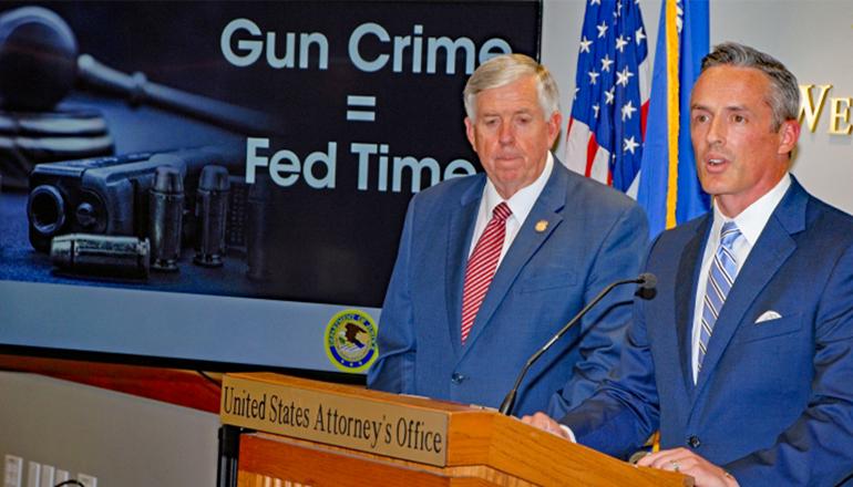 U.S. Attorney Tim Garrison and Missouri Governor Mike Parson