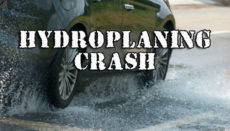 Car Hydroplaning causing crash or accident