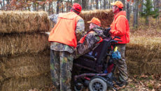 Disabled hunter at ADA compliant blind