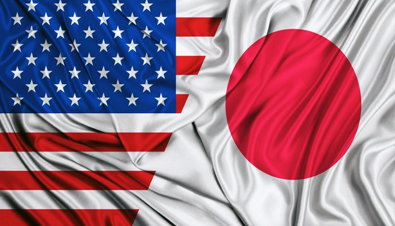 United States and Japanese Flags