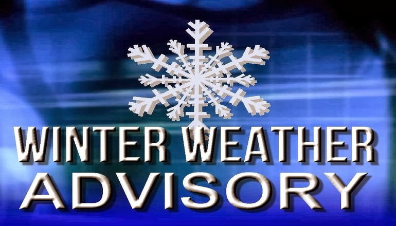 Winter Weather Advisory issued for areas outlined in blue