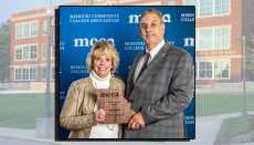 Sue with Dr. Lenny Klaver, President, receiving her award at the annual MCCA convention held in Kansas City, Missouri.