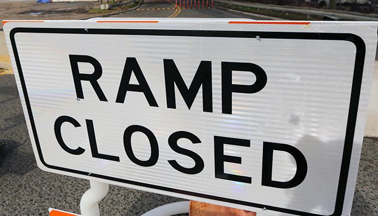 Road Work Ramp Closed Sign