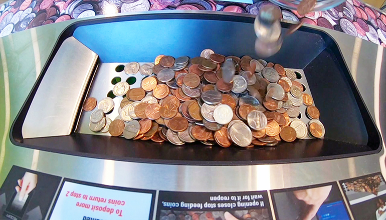 Coins in a counter