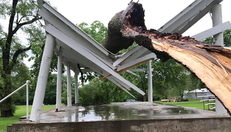 Jameson Bandstand Damaged by Storm