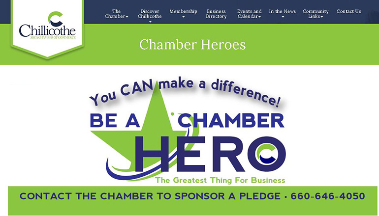 Chillicothe Chamber Heroes Section of Website