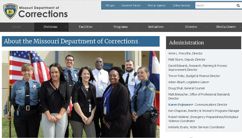 Missouri Department of Corrections website