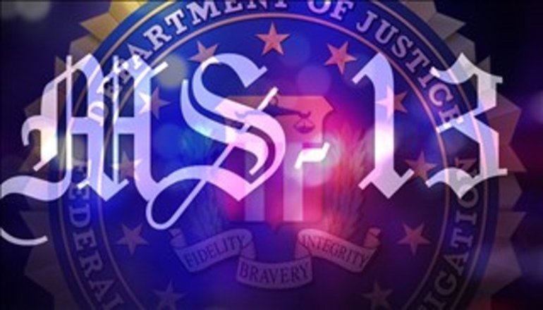 MS-13 Gang Logo over Department of Justice Logo