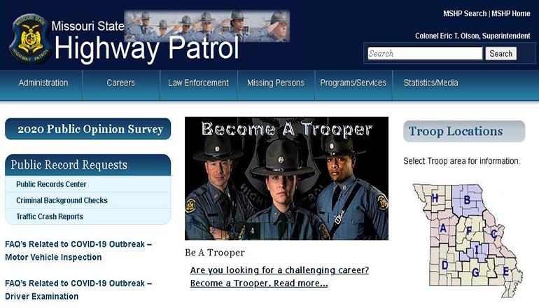 Missouri State Highway Patrol website