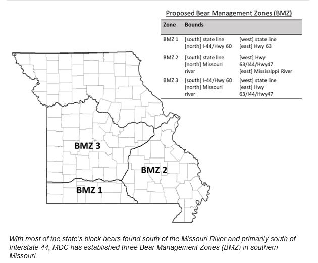 Bear hunting zones Missouri