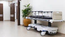 Hospital bed at emergency section entrance of hospital