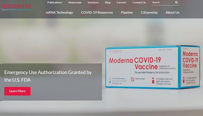 Moderna COVID-19 Vaccine website