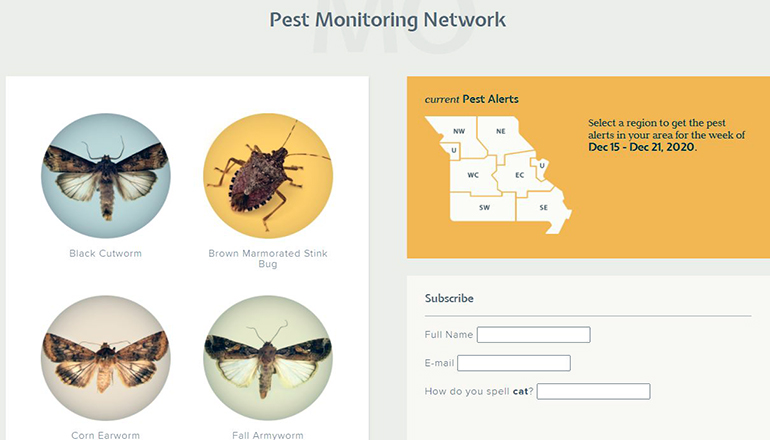 University of Missouri Extension pest monitoring website