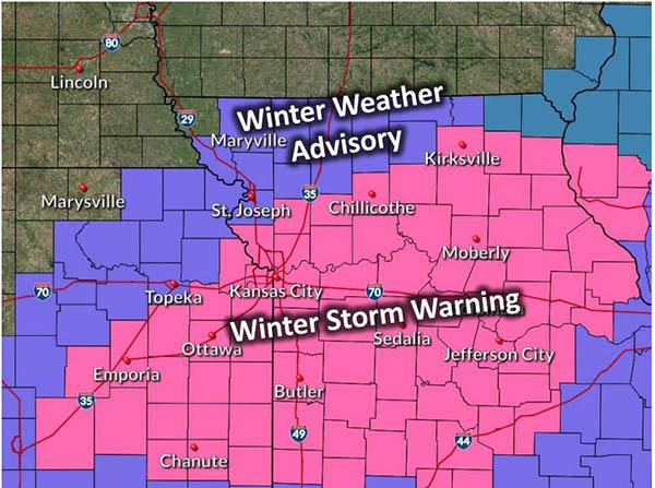 Advisory and warning areas